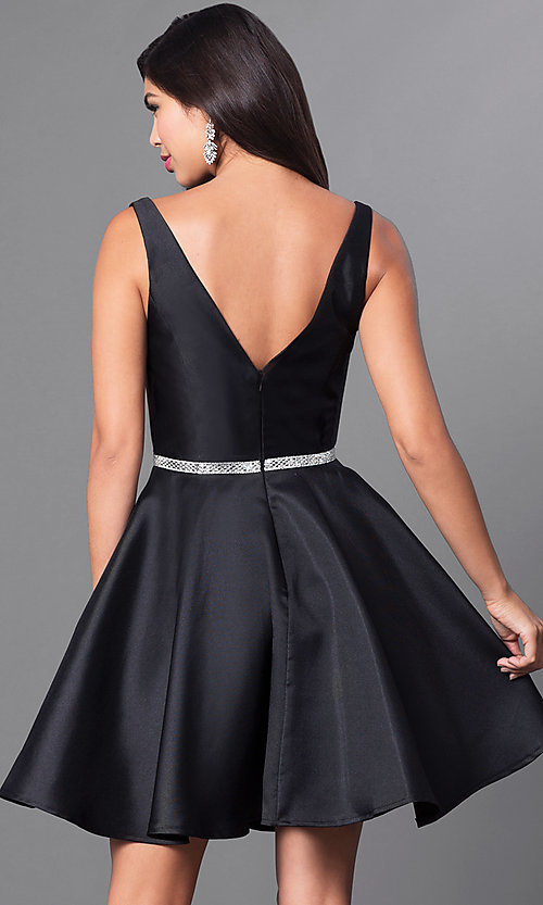 Image of v-neck short satin a-line homecoming dress. Style: PO-7894 Back Image