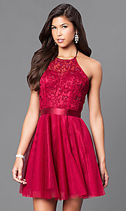 Image of a-line homecoming party dress with halter bodice. Style: FB-GS1465 Front Image