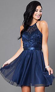 Image of a-line homecoming party dress with halter bodice. Style: FB-GS1465 Detail Image 1