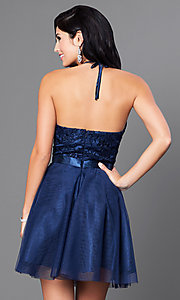 Image of a-line homecoming party dress with halter bodice. Style: FB-GS1465 Back Image