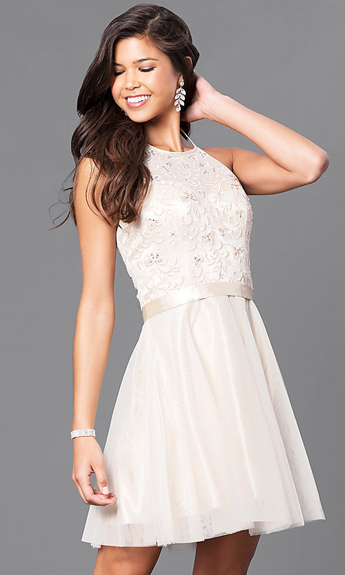 Image of a-line homecoming party dress with halter bodice. Style: FB-GS1465 Detail Image 2