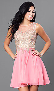 Image of short prom dress with jewel-embellished sheer bodice.  Style: FB-GS1336 Detail Image 1