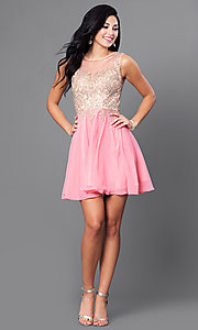 Image of short prom dress with jewel-embellished sheer bodice.  Style: FB-GS1336 Detail Image 2
