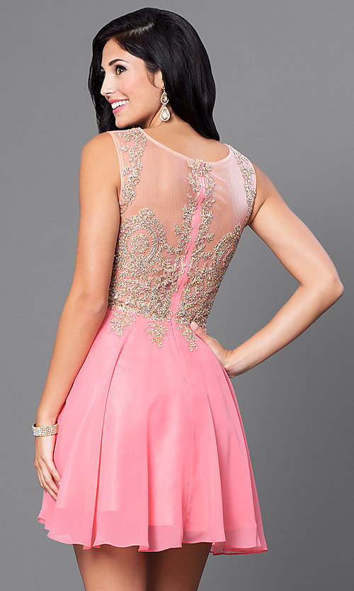 Image of short prom dress with jewel-embellished sheer bodice.  Style: FB-GS1336 Back Image