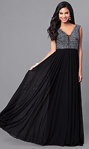 Illusion V-Neck Prom Dress with Lace Applique