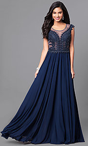 Beaded Prom Dress with Long Chiffon Skirt