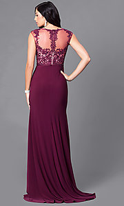 Image of beaded-lace long high-neck jersey prom dress. Style: PO-7600 Back Image