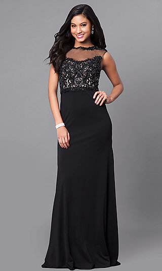 Beaded-Lace Long High-Neck Jersey Prom Dress