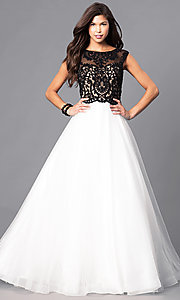 Image of beaded lace-applique illusion-bodice ball gown Style: PO-7910 Front Image