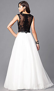 Image of beaded lace-applique illusion-bodice ball gown Style: PO-7910 Back Image