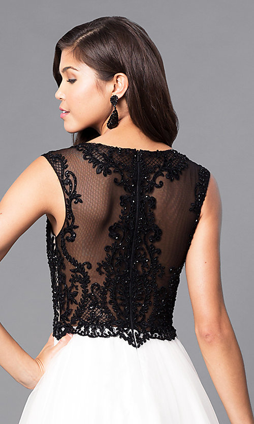 Image of beaded lace-applique illusion-bodice ball gown Style: PO-7910 Detail Image 1