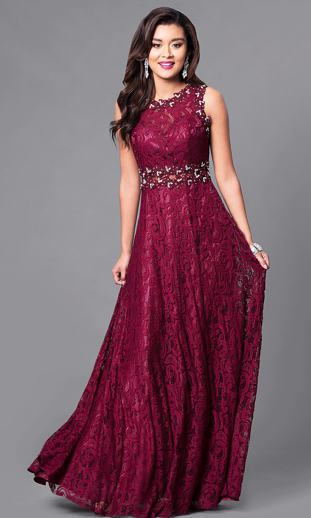 Long Formal Sheer Midriff Lace Gown Promgirl