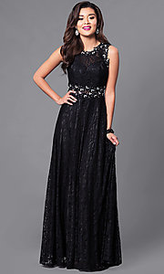 Image of floor-length sleeveless lace dress. Style: FB-GL1460 Detail Image 2
