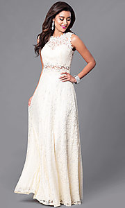 Image of floor-length sleeveless lace dress. Style: FB-GL1460 Detail Image 3