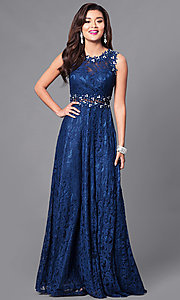 Image of floor-length sleeveless lace dress. Style: FB-GL1460 Detail Image 1