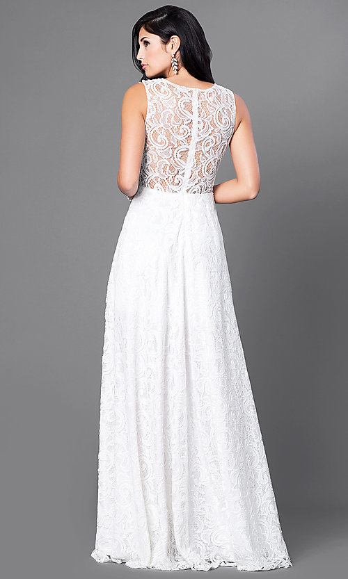 Image of floor-length sleeveless lace dress. Style: FB-GL1460 Back Image