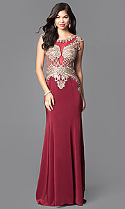 Image of beautiful long prom dress with beaded bodice.  Style: FB-GL1461 Front Image