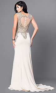 Image of beautiful long prom dress with beaded bodice.  Style: FB-GL1461 Back Image