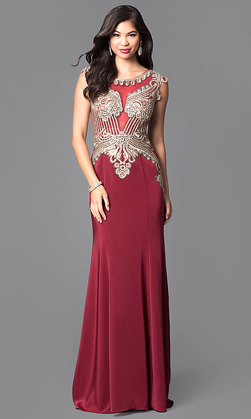 Image of beautiful long prom dress with beaded bodice.  Style: FB-GL1461 Detail Image 2