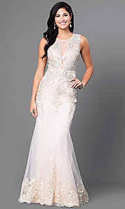 Image of lace illusion long prom dress with jewels. Style: FB-GL1462 Front Image