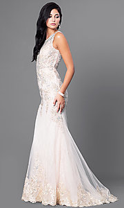 Image of lace illusion long prom dress with jewels. Style: FB-GL1462 Detail Image 1