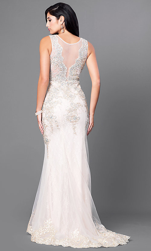 Image of lace illusion long prom dress with jewels. Style: FB-GL1462 Back Image