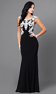 Black Floor Length Dress with White Lace Accents