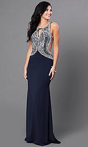 Open Back Floor Length Dress with Jewel and Sequin Bodice