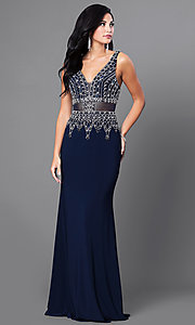 Navy Blue Sleeveless V-Neck Floor Length Dress