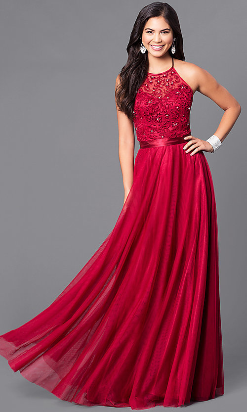 Image of long embroidered halter top dress by Elizabeth K. Style: FB-GL1475 Detail Image 2