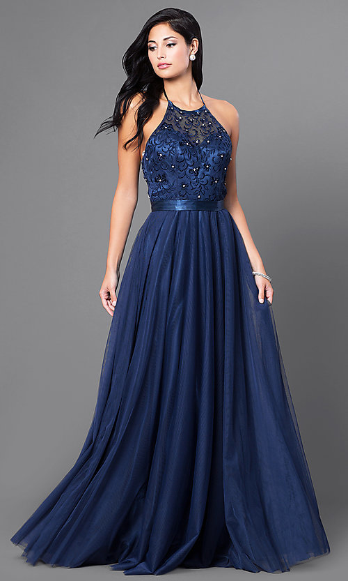 Image of long embroidered halter top dress by Elizabeth K. Style: FB-GL1475 Front Image
