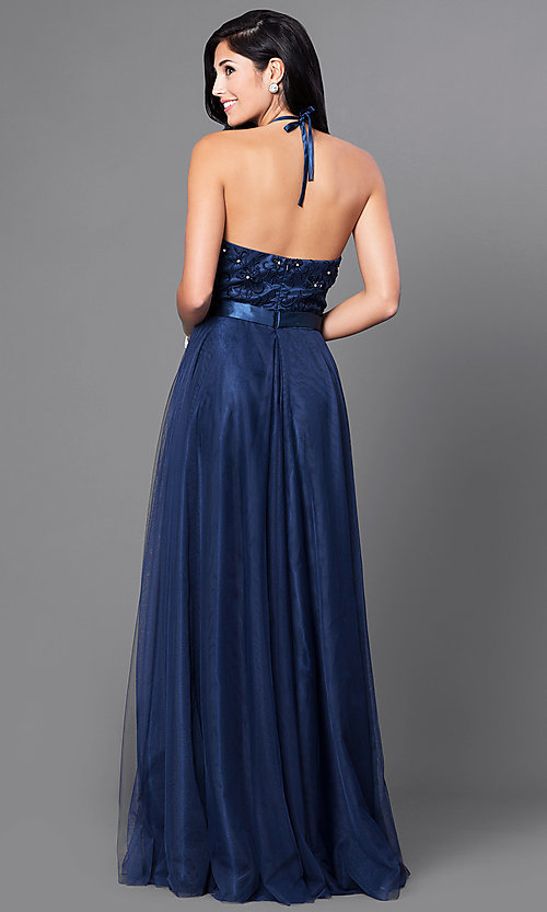 Image of long embroidered halter top dress by Elizabeth K. Style: FB-GL1475 Back Image
