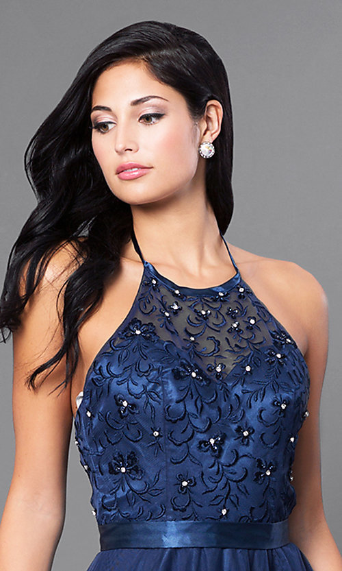 Image of long embroidered halter top dress by Elizabeth K. Style: FB-GL1475 Detail Image 1
