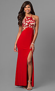 Long Red Prom Dress with Sequin and Print Bodice