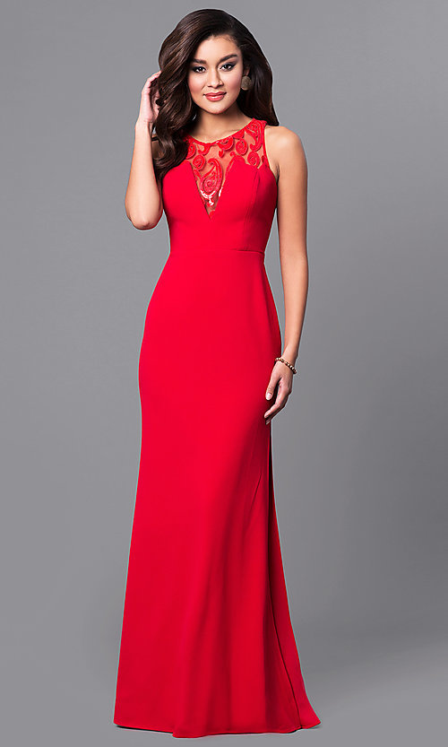 Image of junior-size long red prom dress with ruffle. Style: DMO-J315446 Front Image