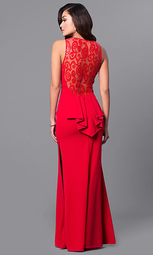 Image of junior-size long red prom dress with ruffle. Style: DMO-J315446 Back Image