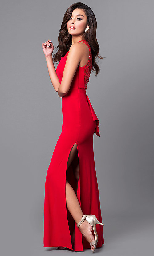 Image of junior-size long red prom dress with ruffle. Style: DMO-J315446 Detail Image 1
