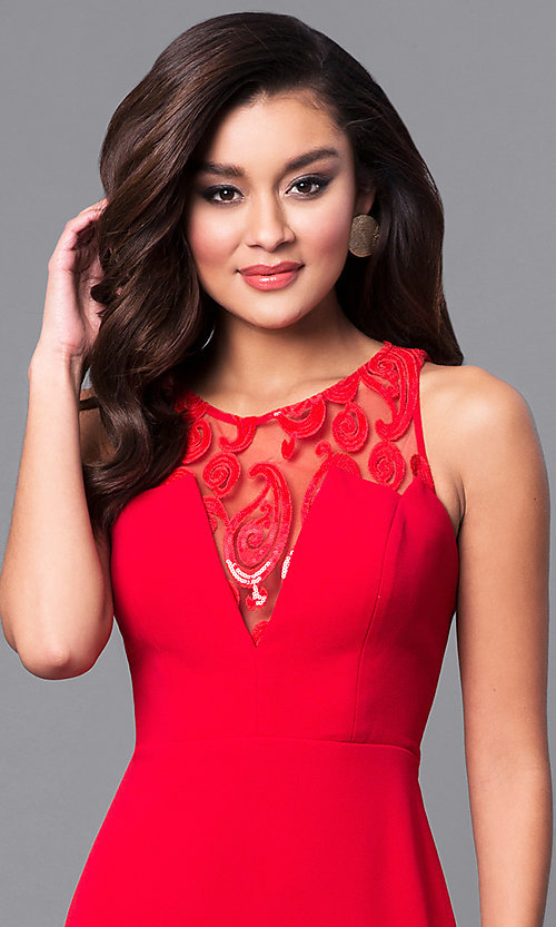 Image of junior-size long red prom dress with ruffle. Style: DMO-J315446 Detail Image 2
