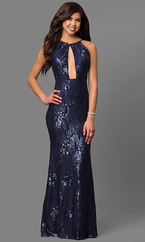 Image of navy blue cutout long prom dress with sequins. Style: DMO-J315156 Front Image