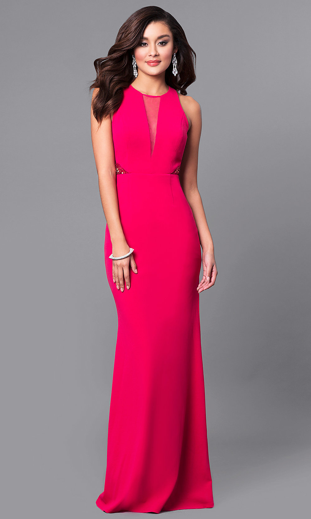 Beaded Cut-Out Long Junior Pink Prom Dress -PromGirl