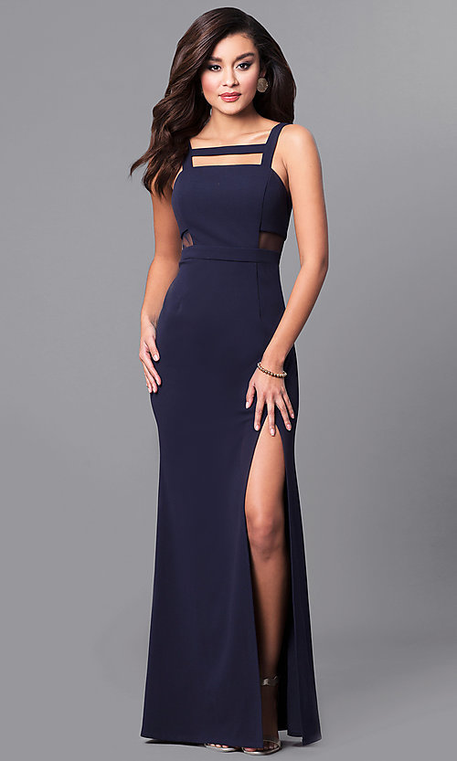 Image of long navy blue prom dress with sheer side cut outs. Style: DMO-J315466 Front Image