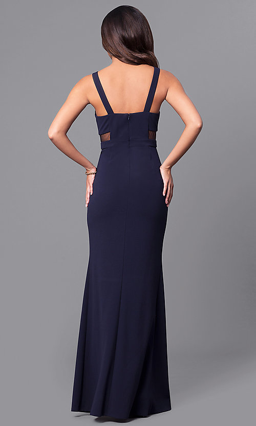 Image of long navy blue prom dress with sheer side cut outs. Style: DMO-J315466 Back Image