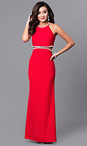 Image of red long prom dress with side cut outs. Style: DMO-J315506 Front Image