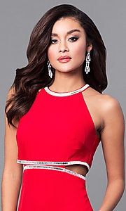 Image of red long prom dress with side cut outs. Style: DMO-J315506 Detail Image 1