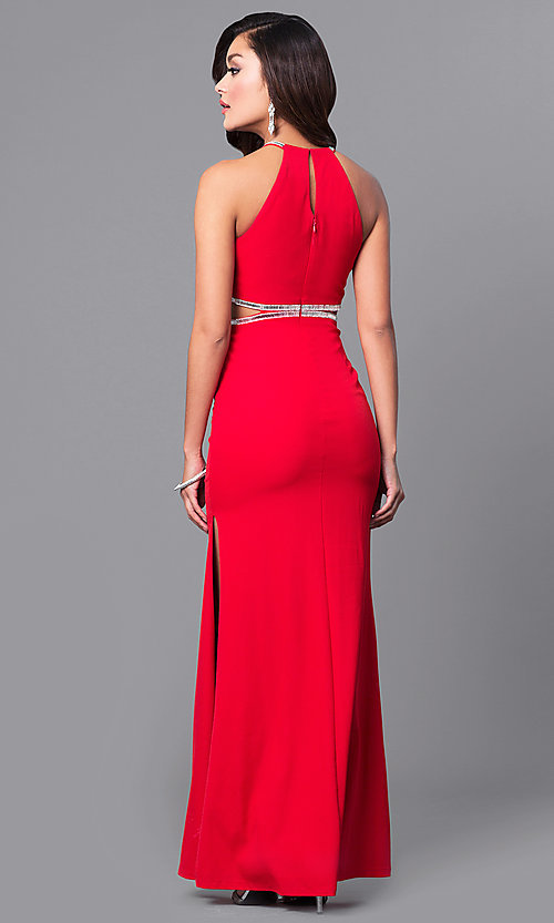 Image of red long prom dress with side cut outs. Style: DMO-J315506 Back Image