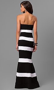 Image of long mermaid prom dress with black and white stripes. Style: DMO-J314426 Back Image
