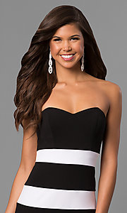 Image of long mermaid prom dress with black and white stripes. Style: DMO-J314426 Detail Image 1