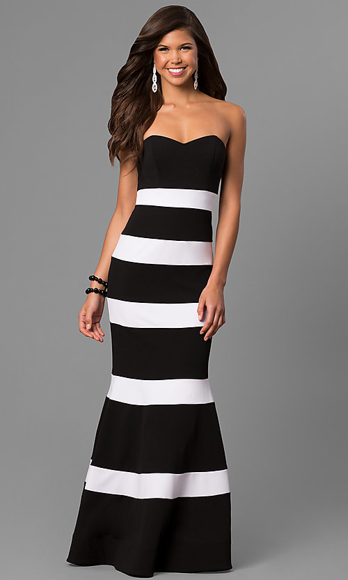 Image of long mermaid prom dress with black and white stripes. Style: DMO-J314426 Front Image