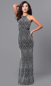 Image of long tribal-print prom dress in black and white.  Style: DMO-J315236 Detail Image 1