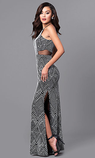 Long Tribal-Print Prom Dress in Black and White